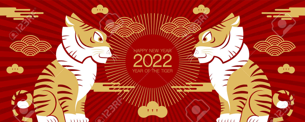 Happy new year, Chinese New Year, 2022, Year of the Tiger, cartoon character, royal tiger, Flat design (Translate : Tiger, Chinese New Year ) - 173632376