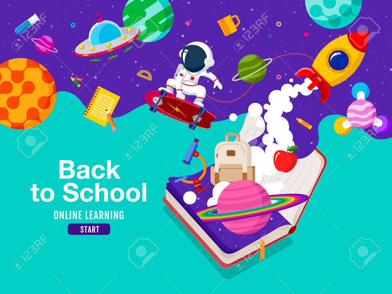 back to school, Book Inspiration, Online Learning, flat design vector. - 173743075