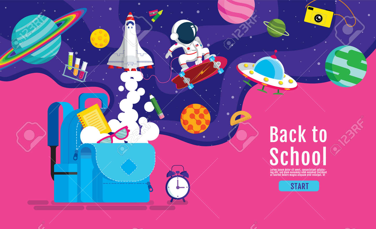 back to school, Book Inspiration, Online Learning, study from home, flat design vector - 172781700