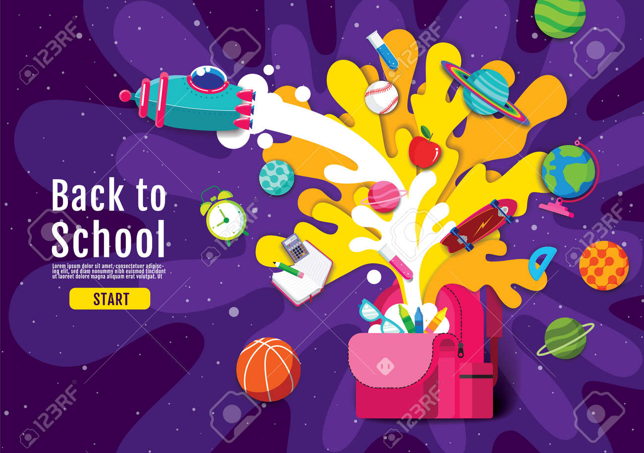 back to school, Inspiration, Online Learning, study from home, flat design vector. - 172988366