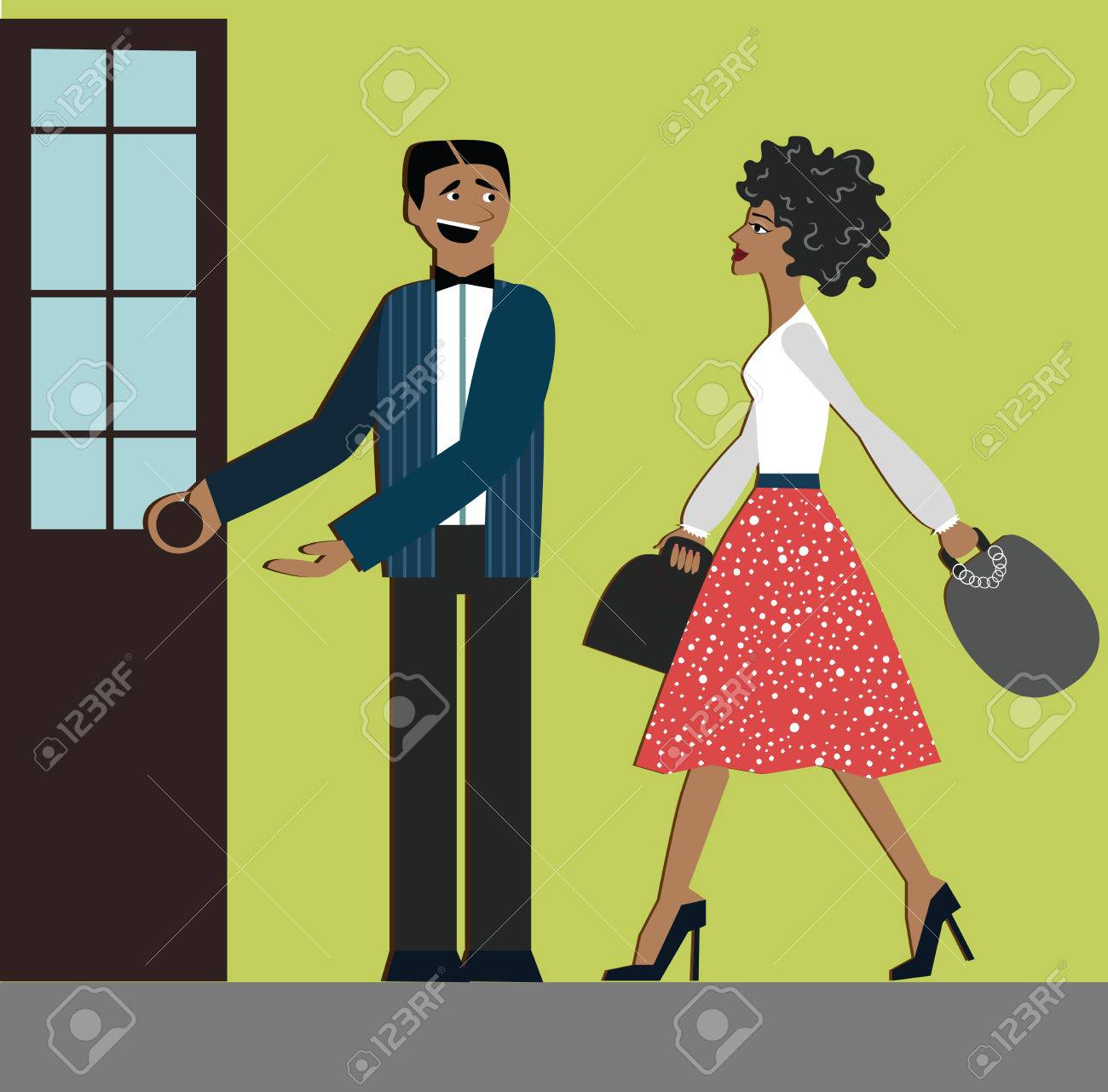 Good manners. Man open the door for woman. Etiquette, decorum,..
