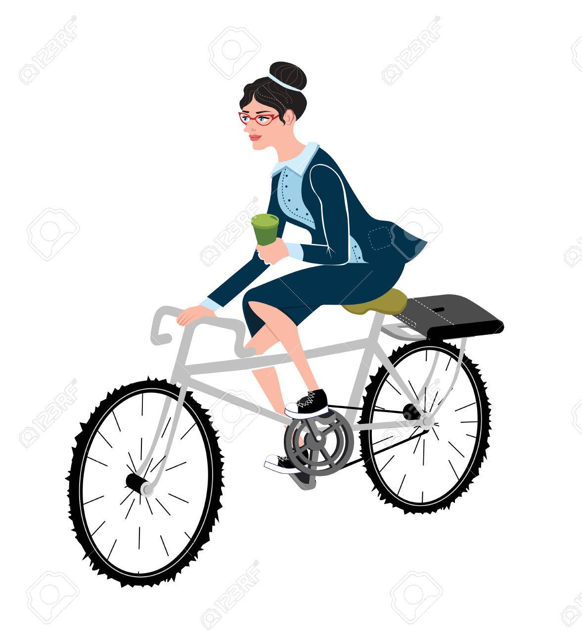 business woman with coffee ride a bike style business lady riding