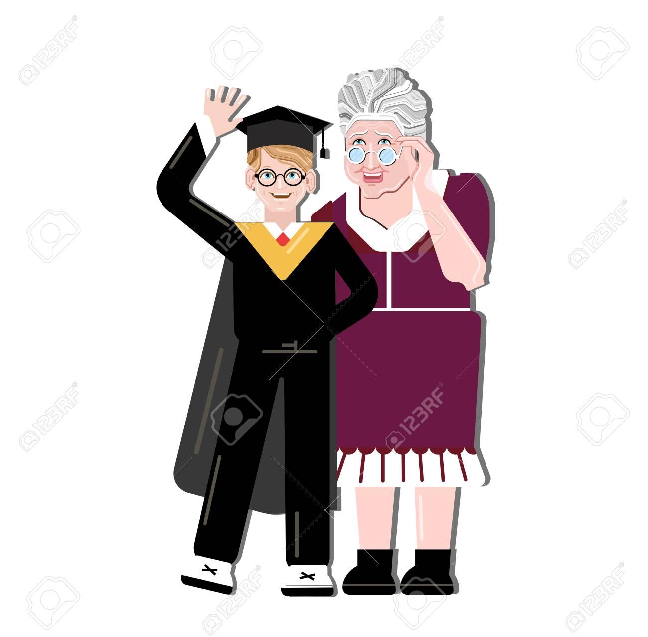 Großmutter glücklich für Enkel. Kleiner Junge, der auf Oma-Schultern steht.  Generationen und Familienliebe und Glück. Akademische Kappen oder