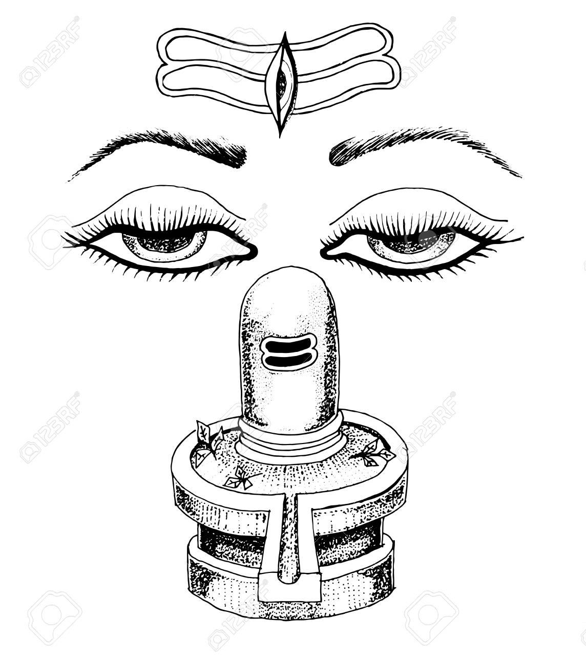 Lord Shiva Mahashivratri Outline Poster With Shiva Lingam Dharma