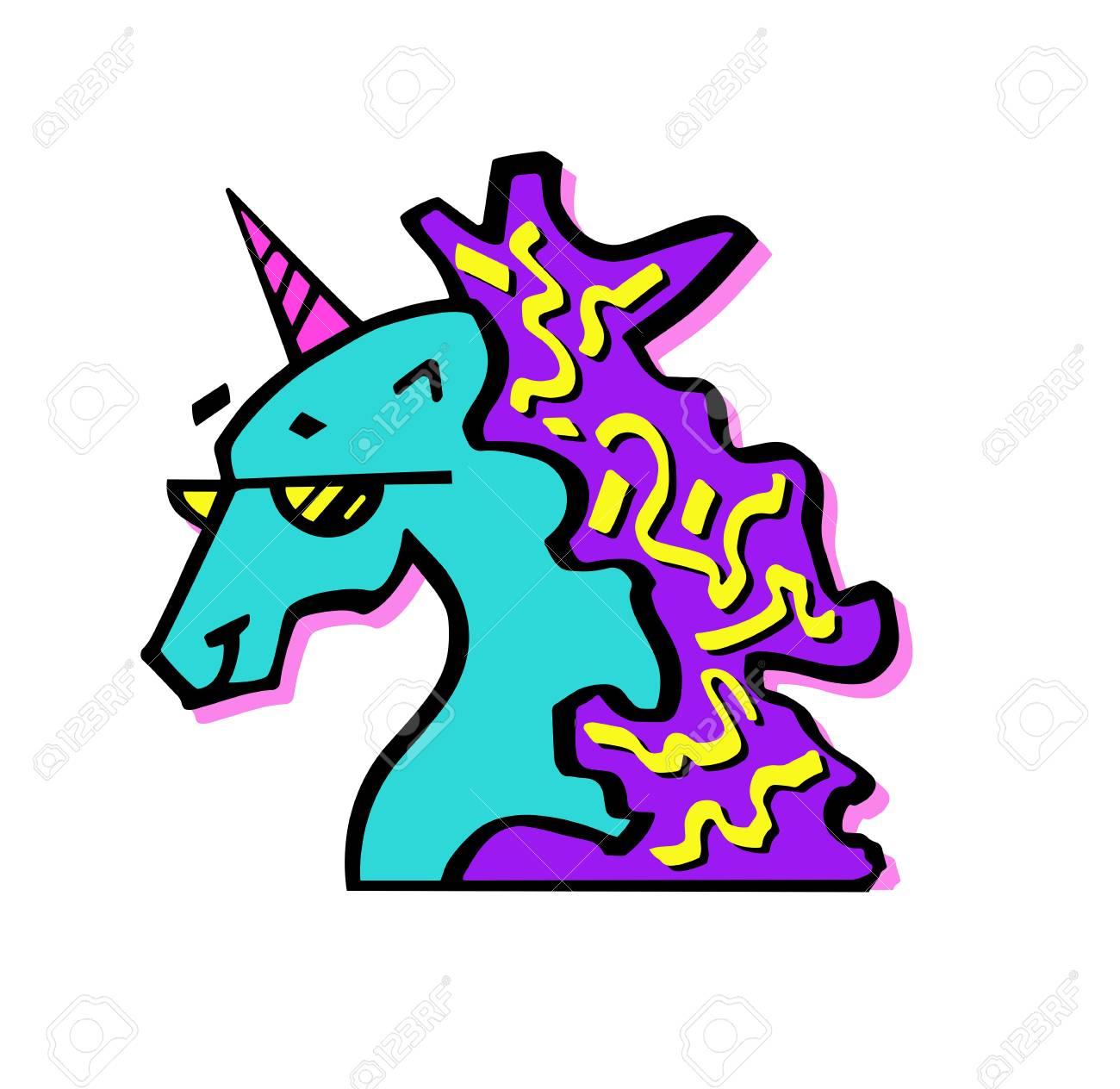 Ilustración Colorida De La Cabeza Del Unicornio Mágico En Vidrios Unicornio Para Tarjeta De Invitación Boleto Marca Etiqueta