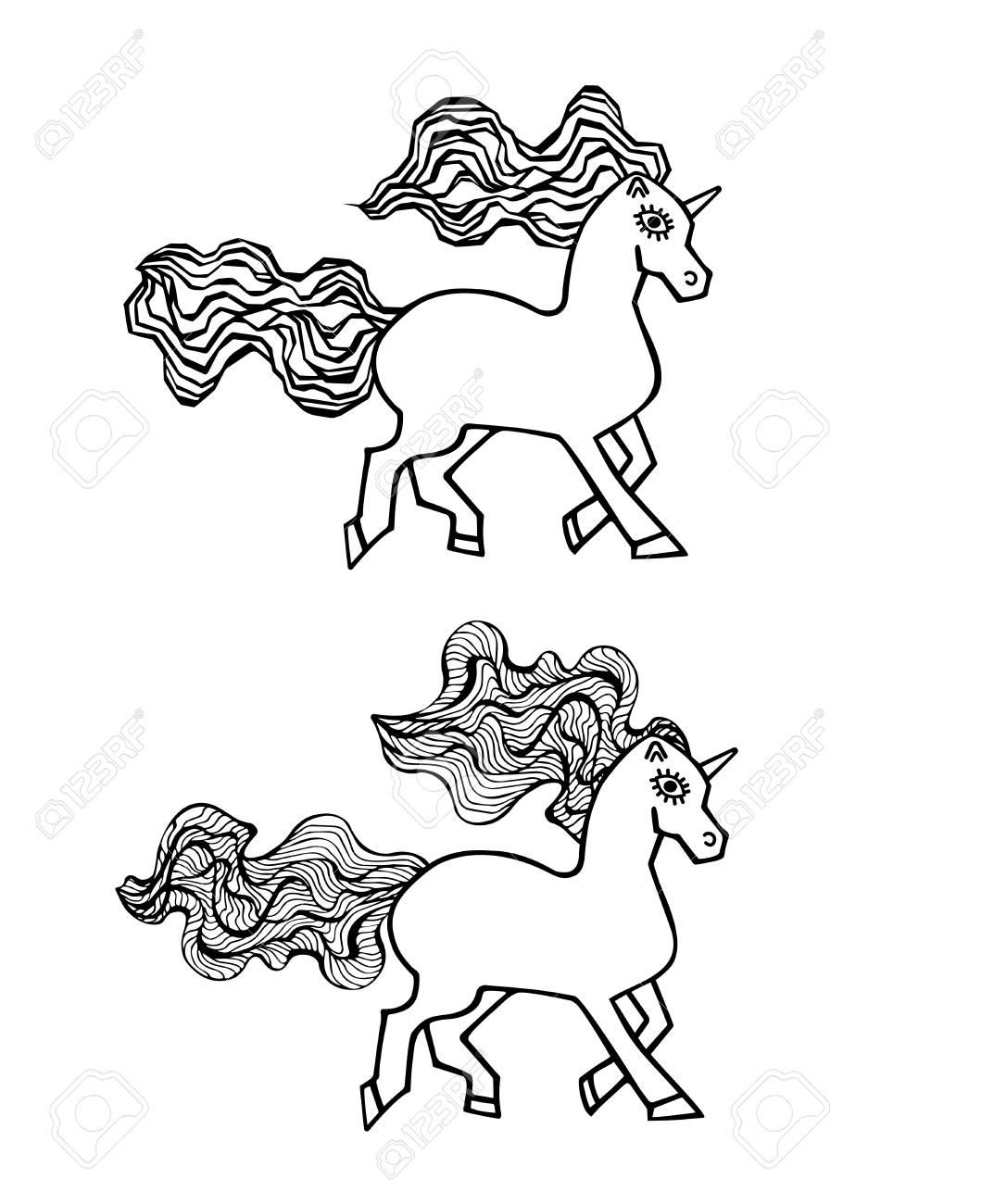 Animal Mágico En Blanco Y Negro Unicornio Para Tarjeta De Invitación De Boda Boleto Marca Logotipo De Boutique Etiqueta Unicornio Para La