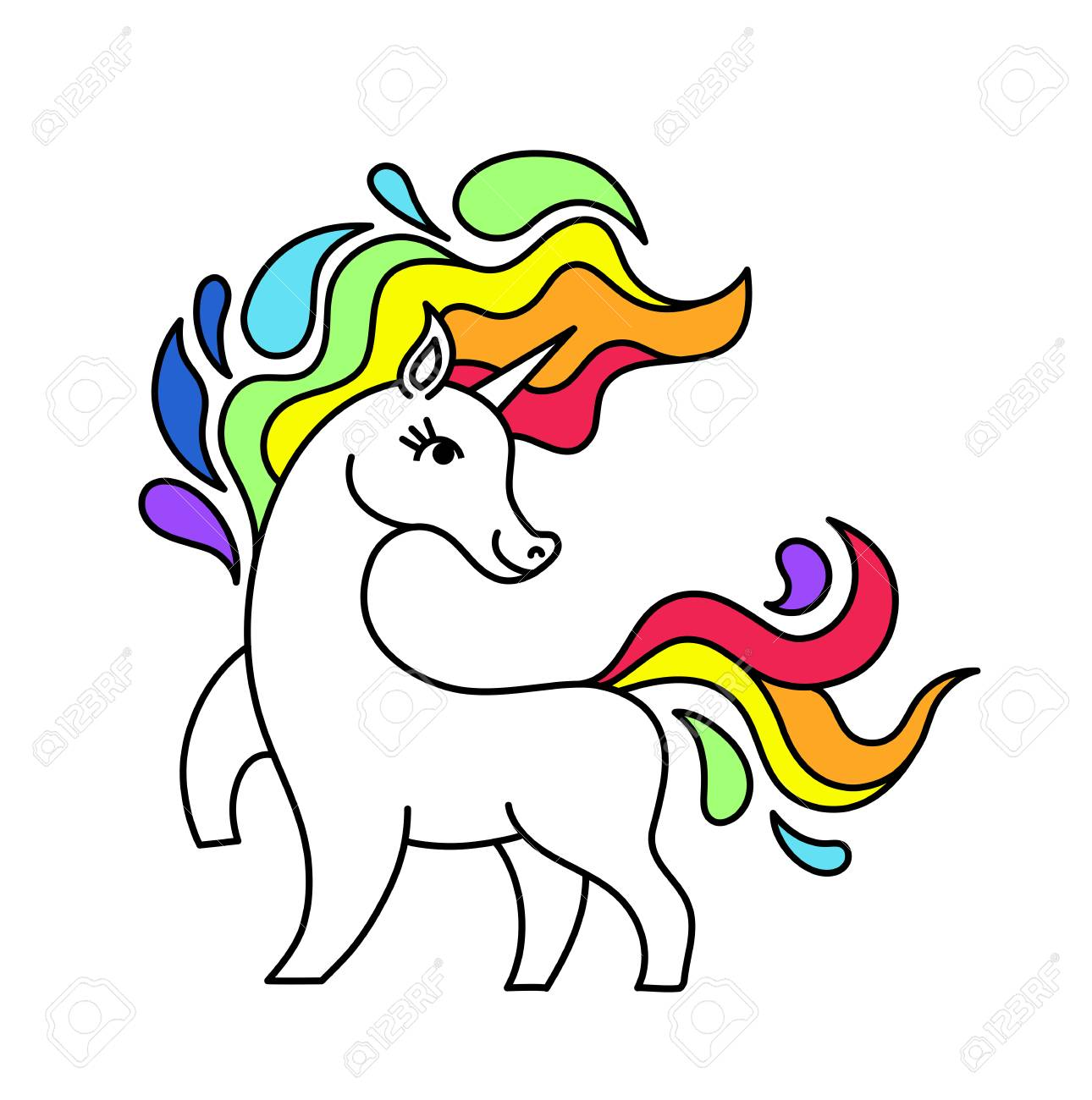 sticker vector unicorn and rainbow isolated cartoon unicorn with rh 123rf com free vector unicorn silhouette free vector unicorn face