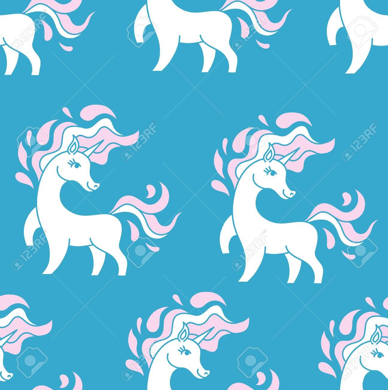 ユニコーンは青の背景にシームレス パターン。かわいいユニコーンでベクトル パターン。少し