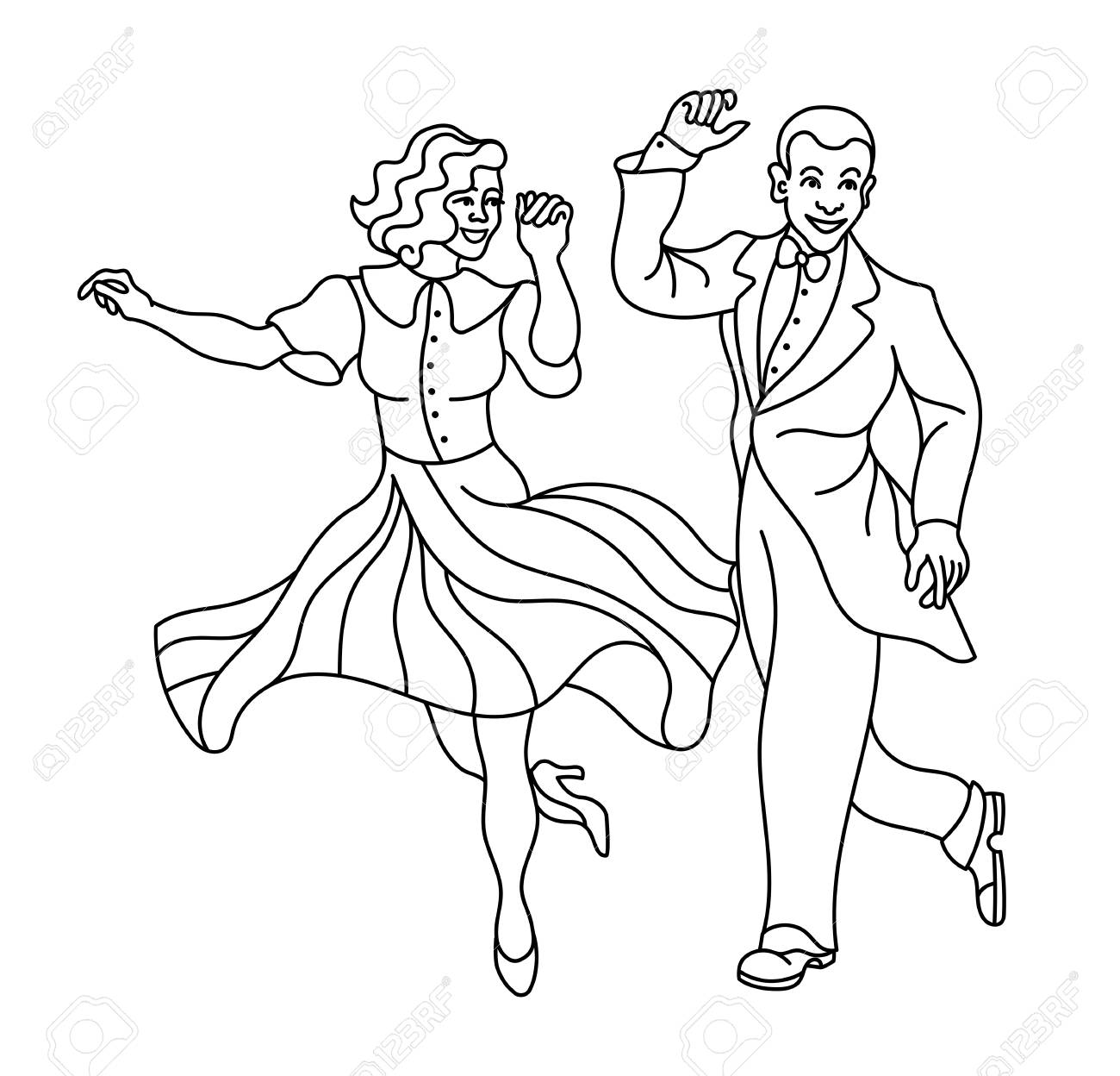 Pattern Retro Dance.Dance Couple Silhouette. Seamless Retro Silhouette..  Royalty Free Cliparts, Vectors, And Stock Illustration. Image 90628115.
