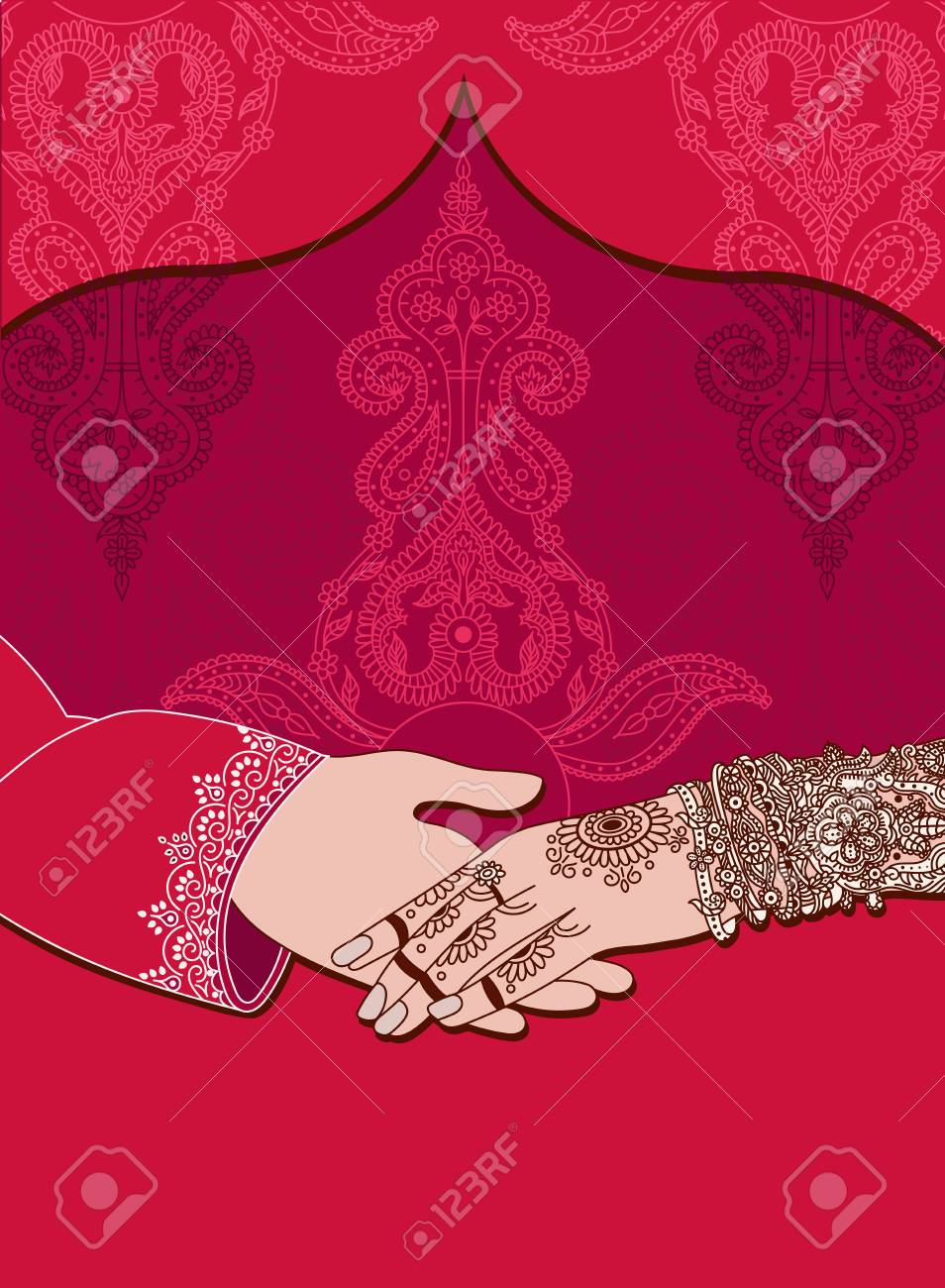Wedding indian invitation card on red background india marriage vector wedding indian invitation card on red background india marriage templateautifully decorated indian bride handose up of groom holding brides stopboris Images