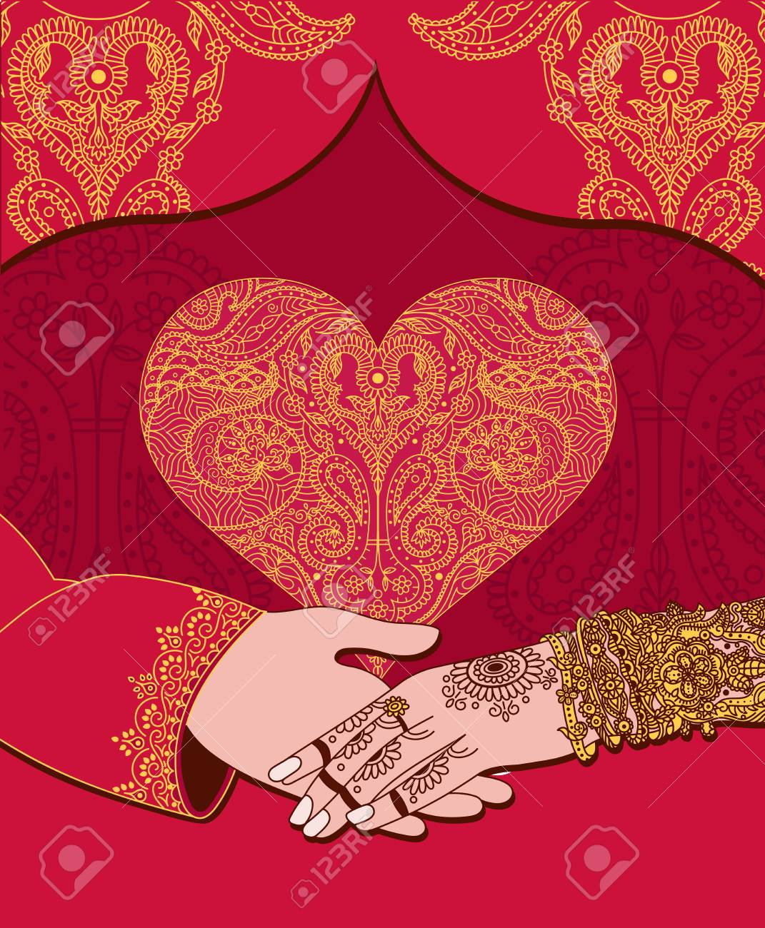 Wedding indian invitation card with golden heart. India marriage template.Beautifully decorated Indian bride hand.Close-up of groom holding brides hand.Indian bride with mehandi in hand in vector - 92406694