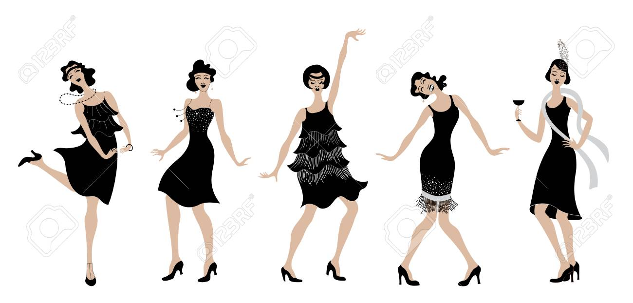 2f177f310897 Charleston party black dress dancing girls silhouette. Gatsby style set  group of retro woman dancing