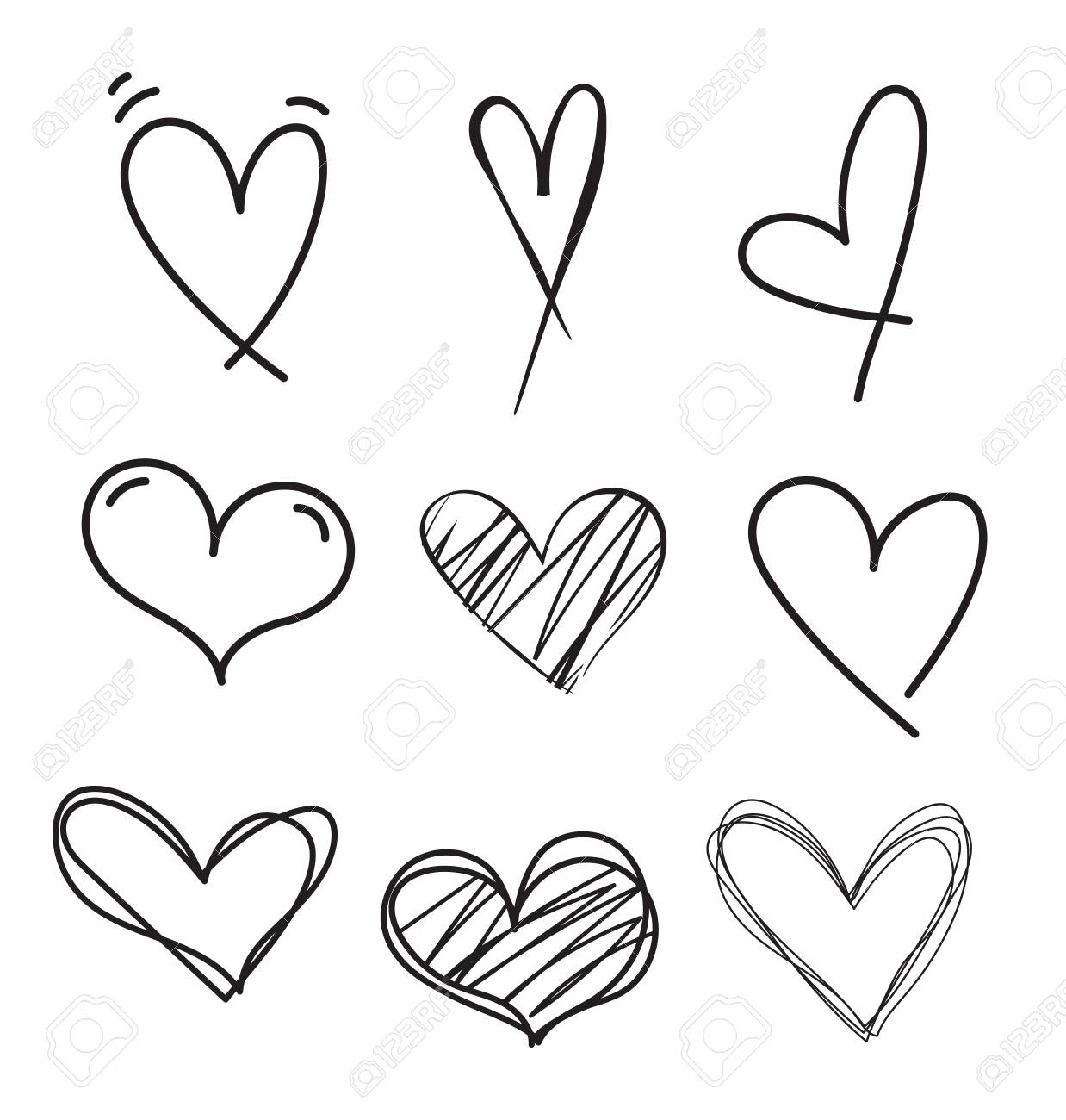 Hand drawn doodle heart vector set.Rough marker hearts isolated on white background. Outline vector heart collection. - 97276468