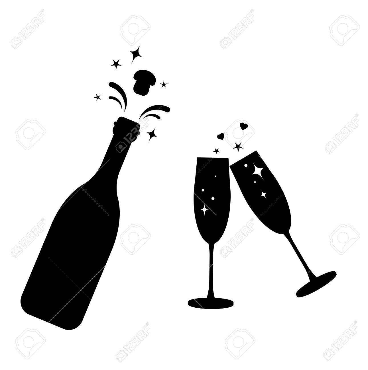 Champagne bottle vector glass icon. Bottle and two glasses black silhouette icons. - 99217953