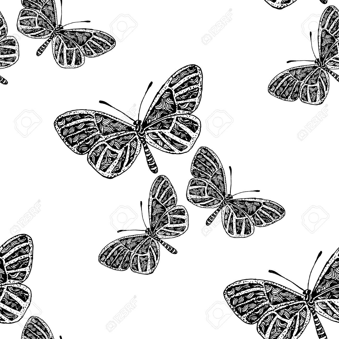 Hand Gezeichnet Vektor Schmetterling, Frühling Und Sommer Nahtlose ...
