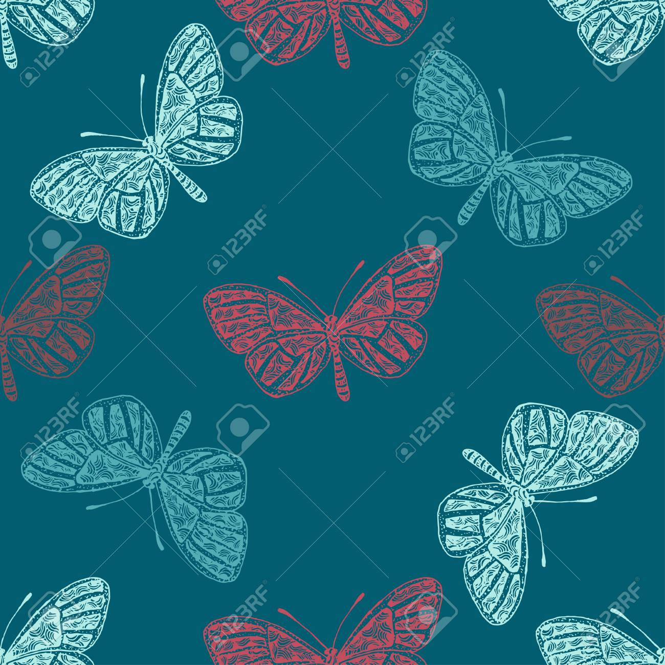 Hand Drawn Vector Butterfly Spring And Summer Seamless Pattern Coloring Book For Adult