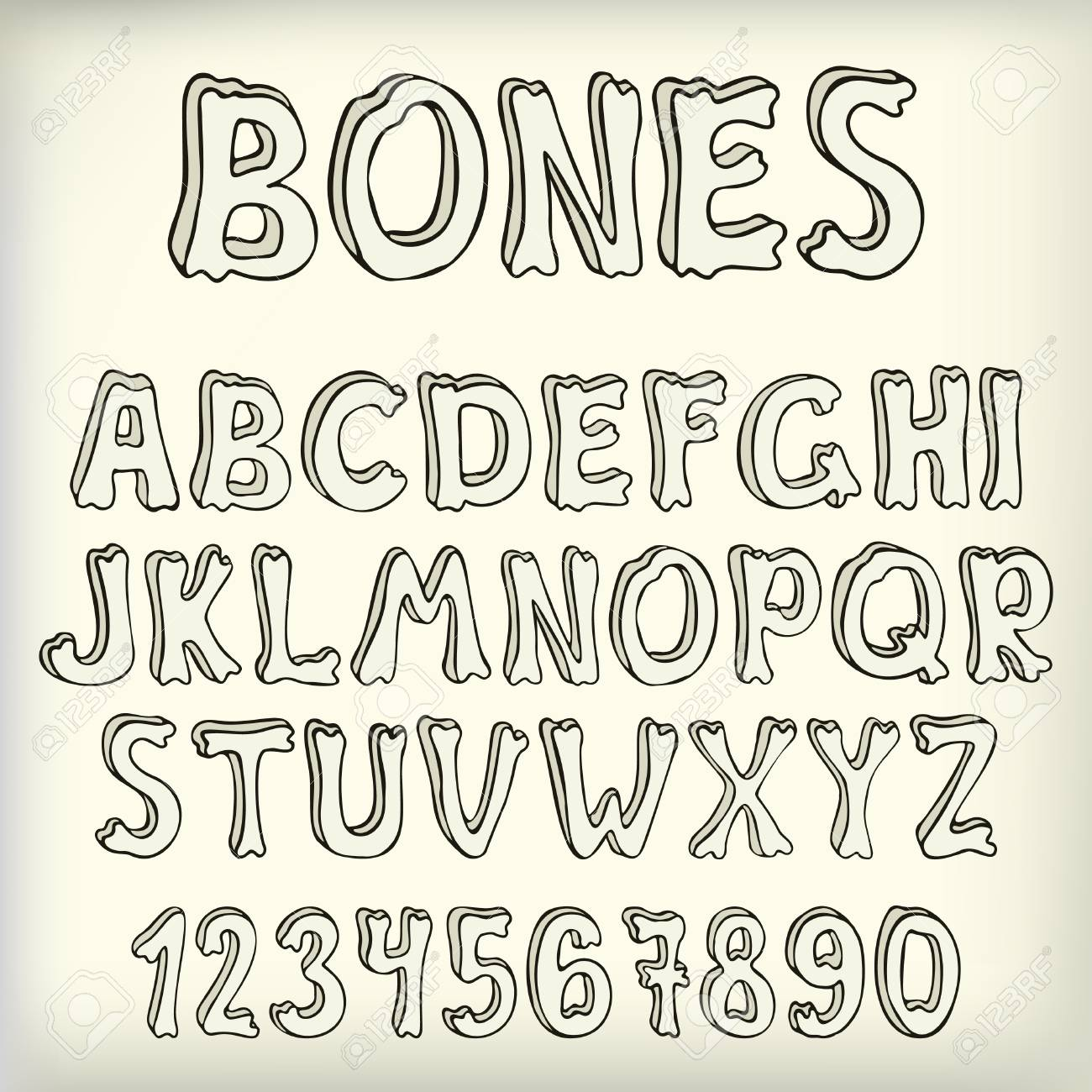 Hand drawn vector letters set, creative halloween font  Doodle