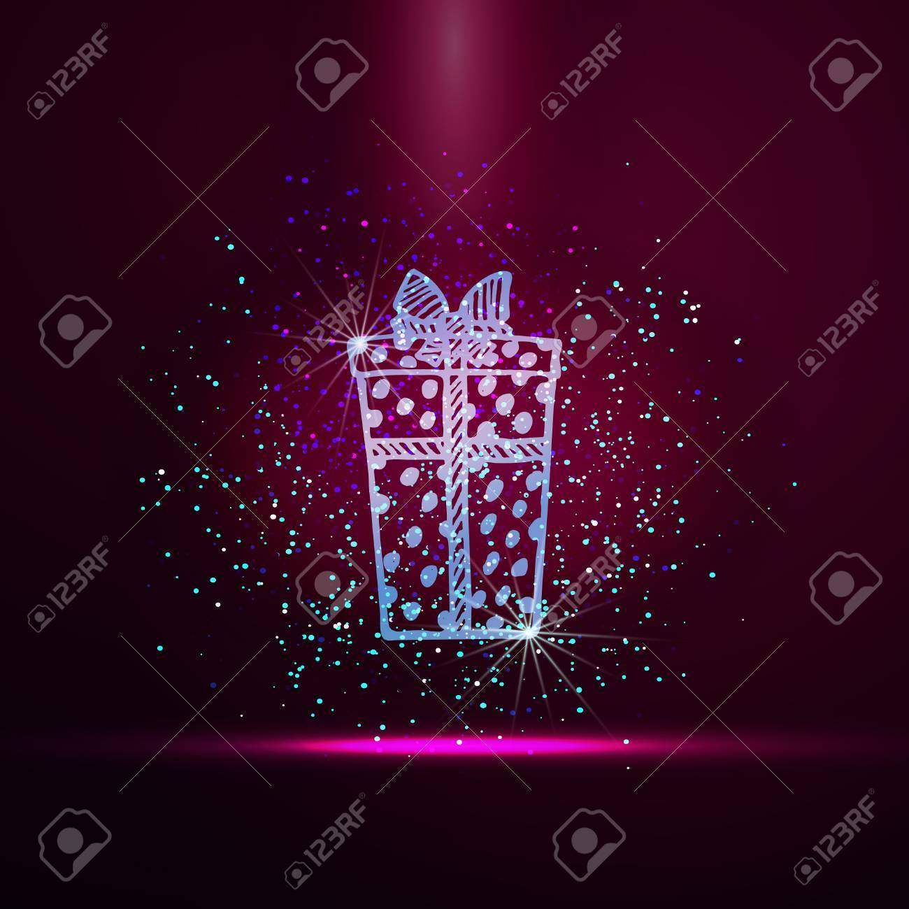 Vector golden sparcle holiday background with gift box. Happy New Year and Merry Christmas luxury glamourous greeting card. Vector golden confetti background. - 64537683