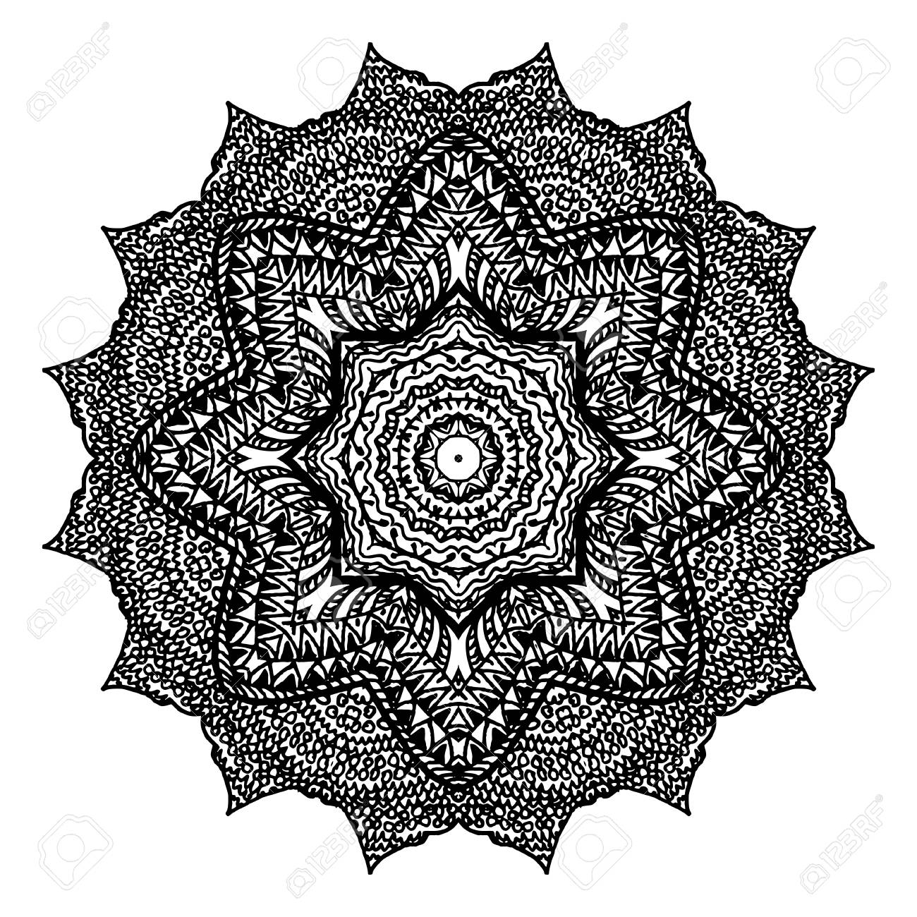 Mandala Floral Elements Decoratifs Abstraits Ethniques Hand Drawn