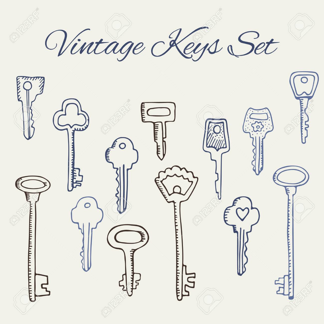Hand Drawn Doodle Vintage Keys Collection. Isolate Design Elements ...