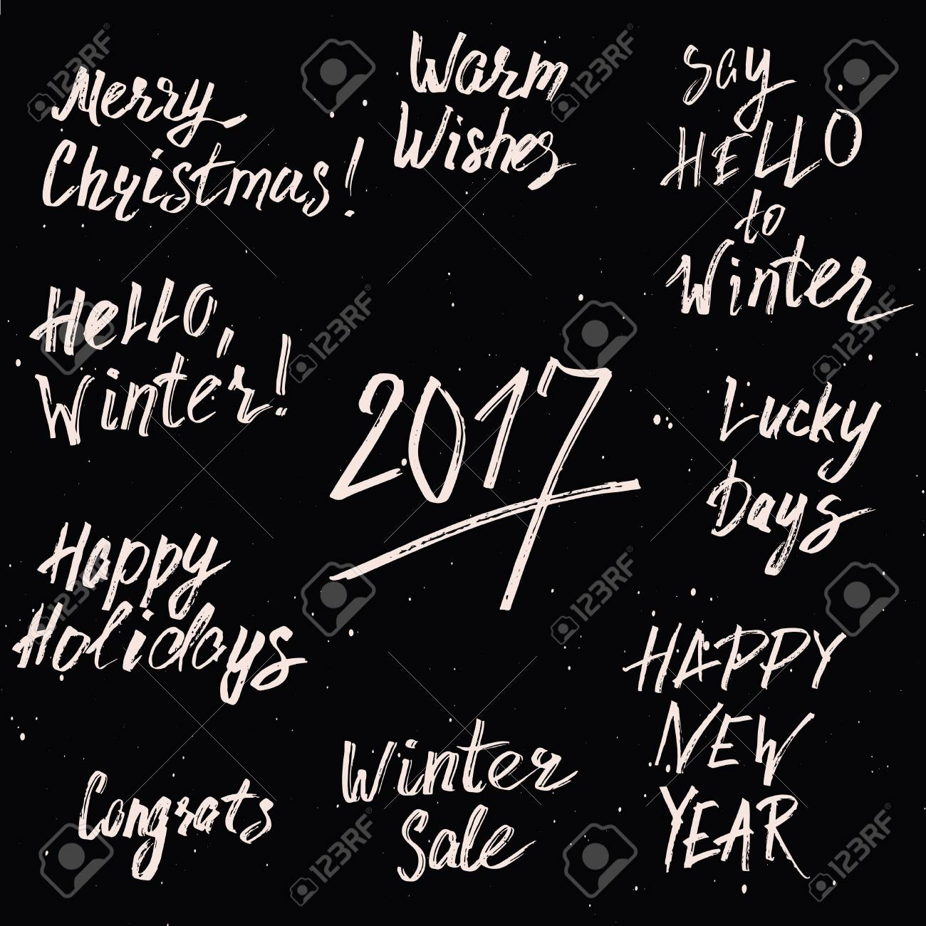 happy new year 2017 and merry christmas holiday printable templates set hand drawn marker lettering