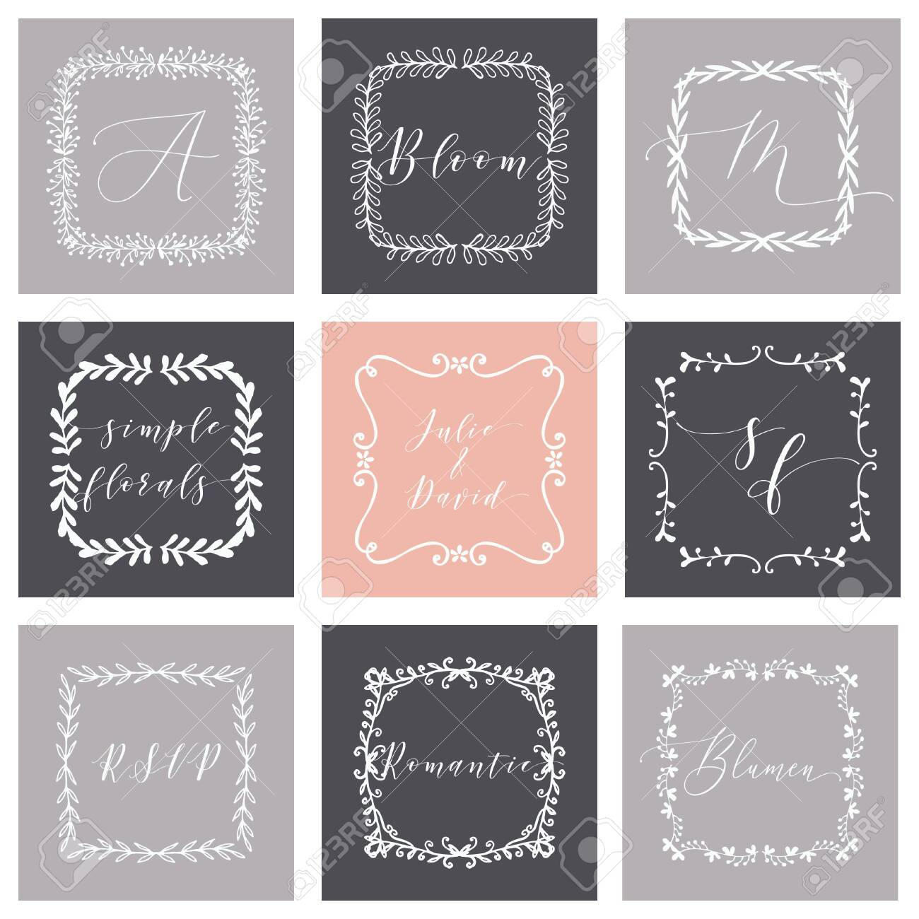 Floral Frame or Monogram Hand Drawn Element. Doodle Branches Border Illustration for Wedding Invitations, Greeting Card or Restaurant Menu. Hipster Hand Made Design Template. - 147320452