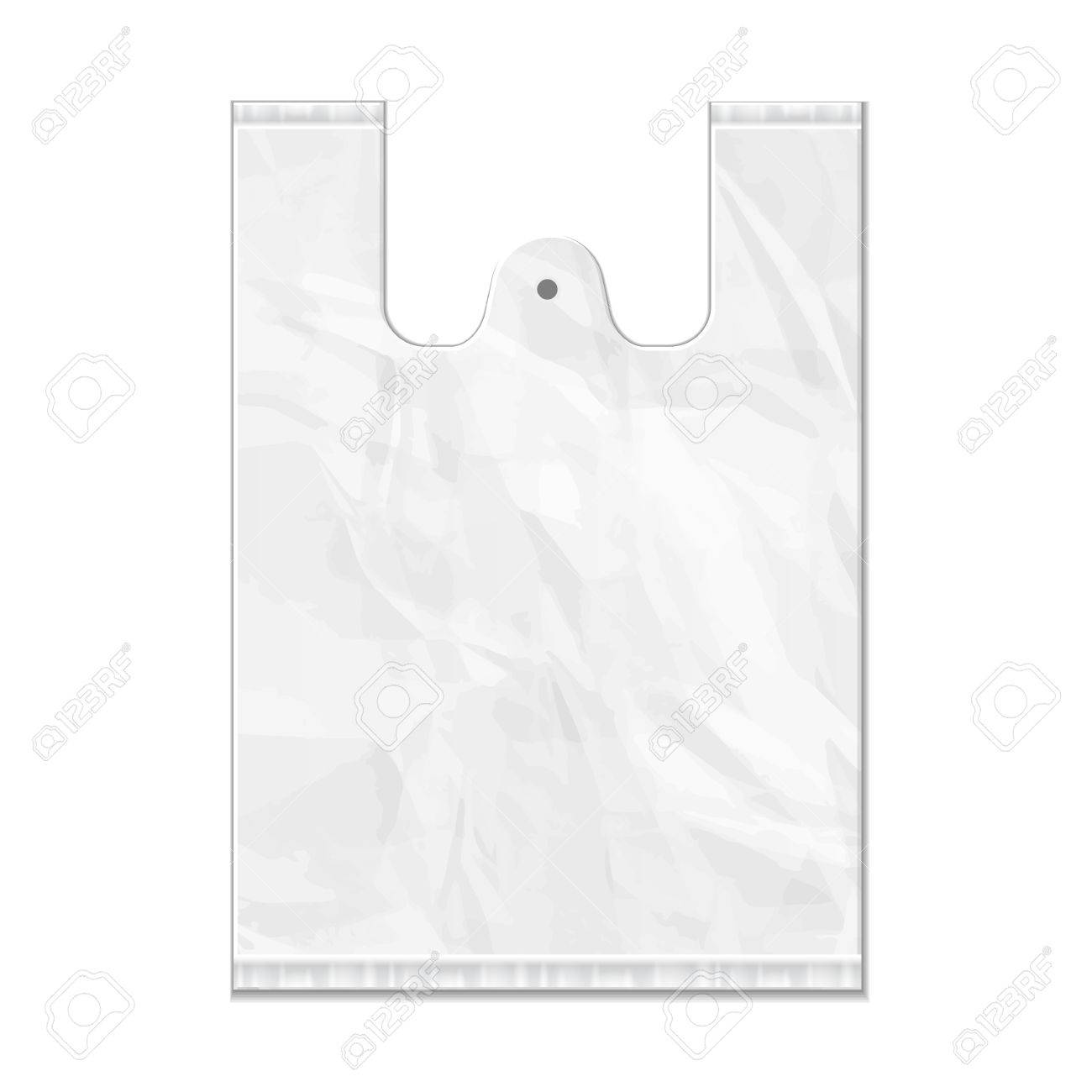 Disposable Plastic Bag Package Grayscale Template. Ready For ...