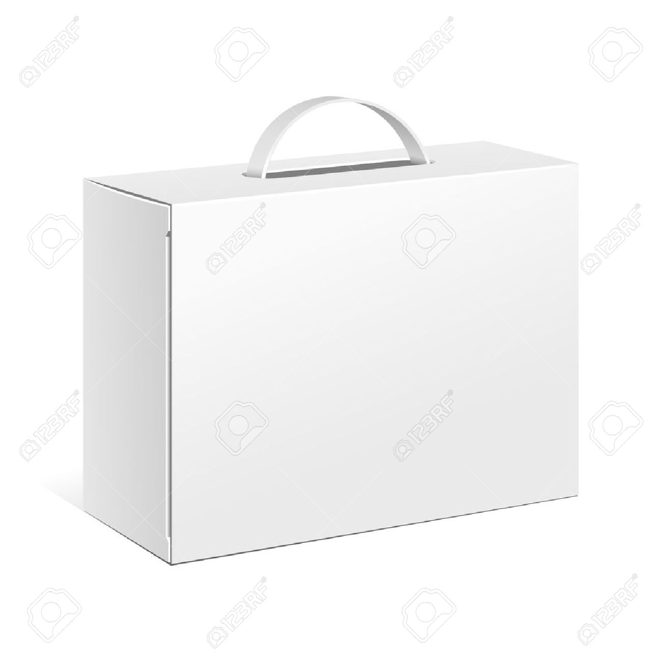Carton Or Plastic White Blank Package Box With Handle. Briefcase, Case, Folder, Portfolio Case. Illustration Isolated On White Background. Ready For Your Design. Product Packing Vector EPS10 - 36931333