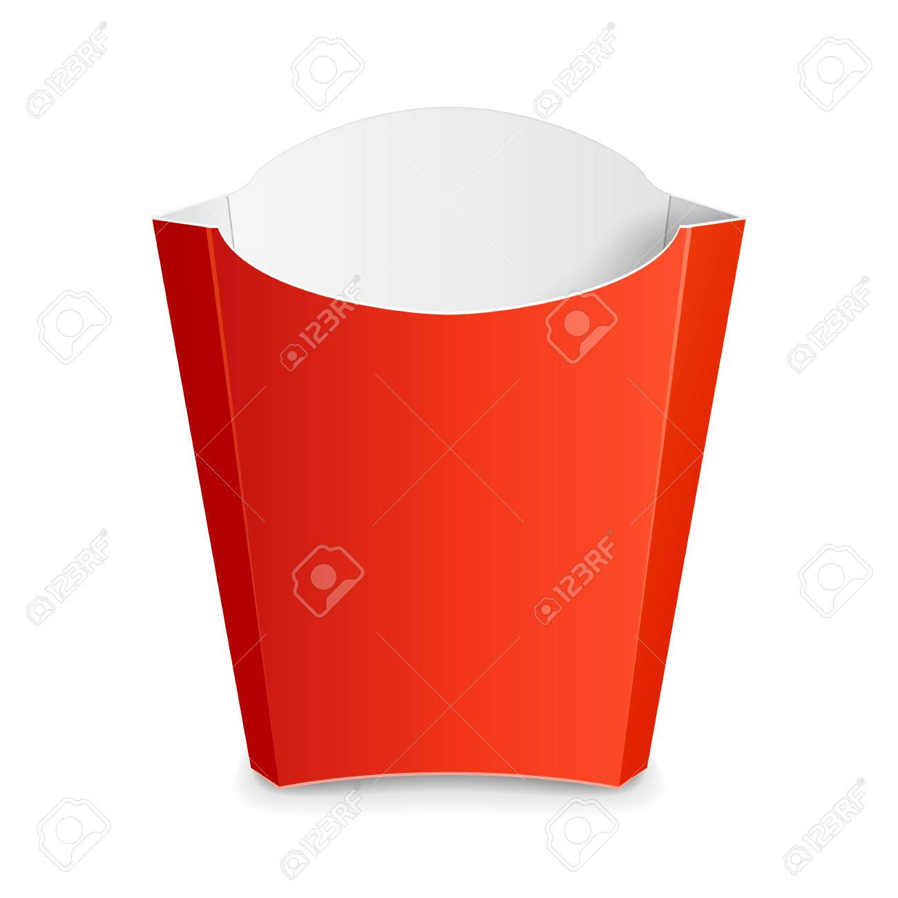 French Fries Red Paper Box. On White Background Isolated. Mock ...