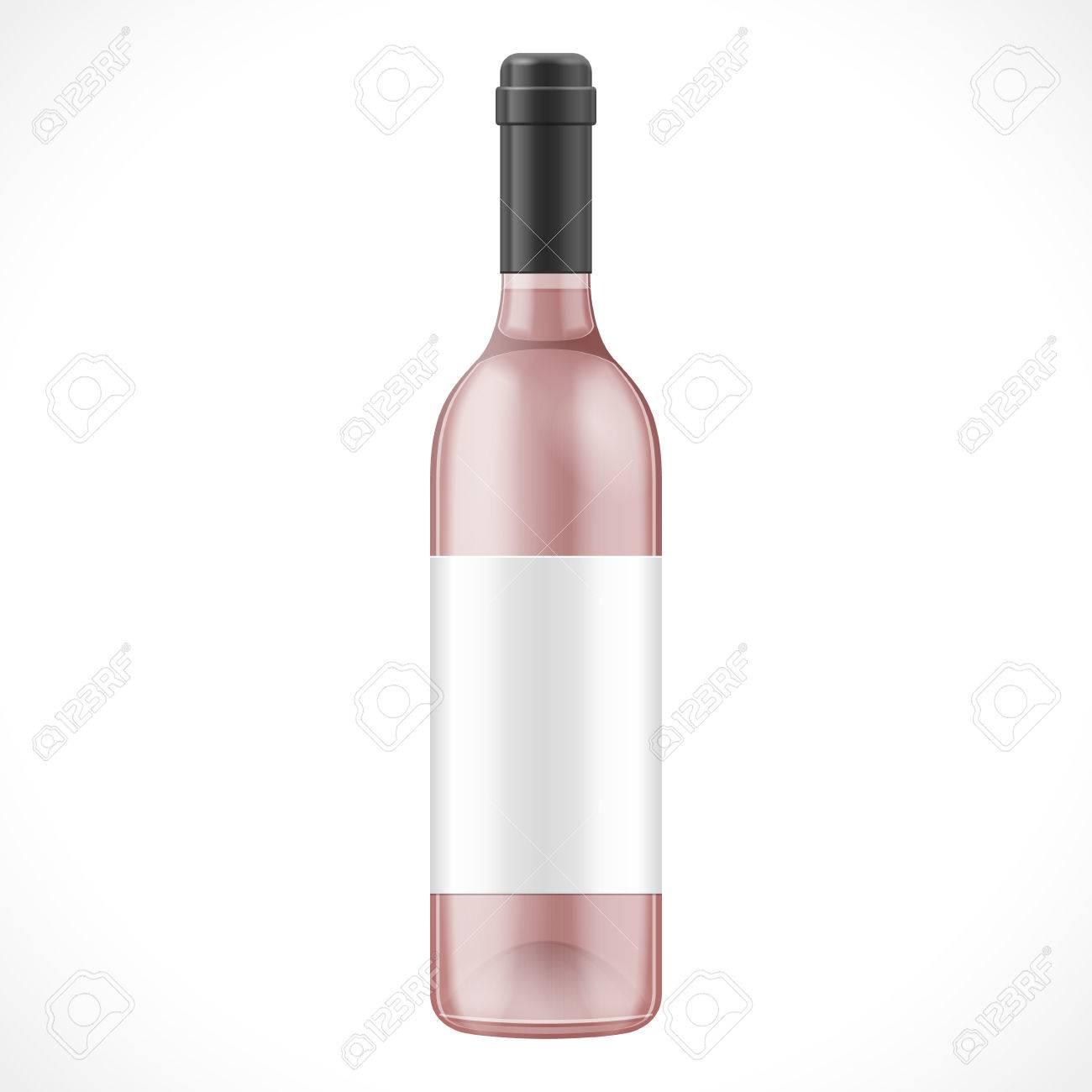 Rosa Glas-Wein-Apfelwein-Flasche Mit Etikett. Illustration Isoliert ...