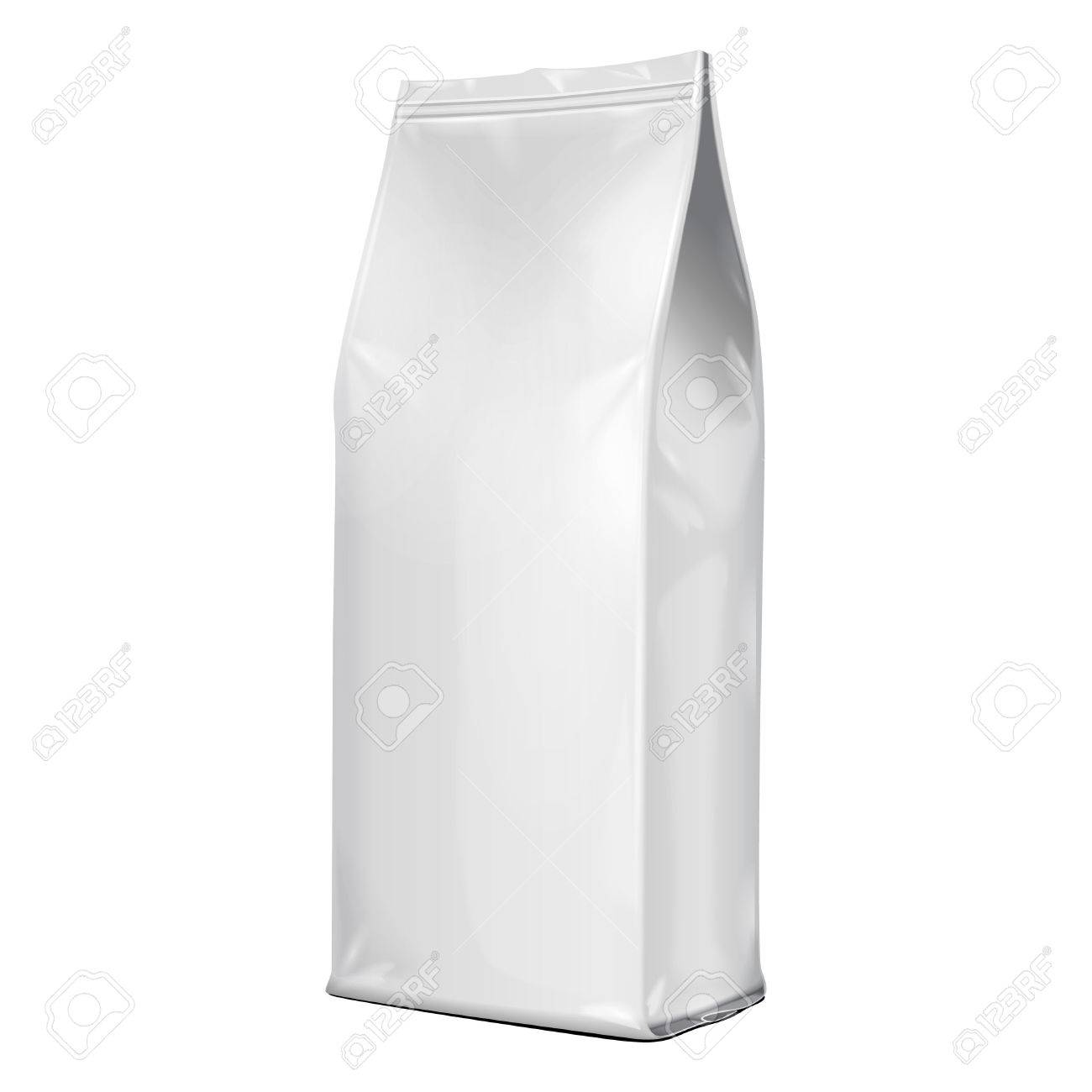 Foil Paper Food Bag Package Of Coffee, Salt, Sugar, Pepper, Spices Or Flour, Folded, Grayscale. On White Background Isolated. Mock Up Template Ready For Your Design. Product Packing Vector EPS10 - 57038086