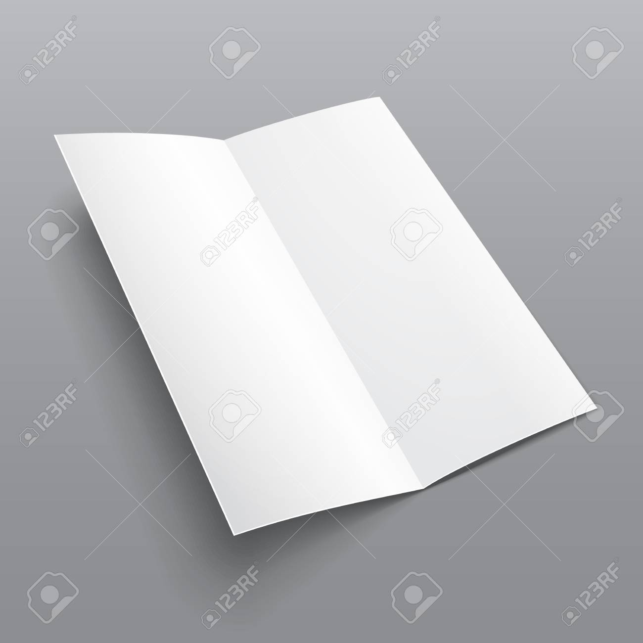 blank trifold paper brochure with shadows on gray background