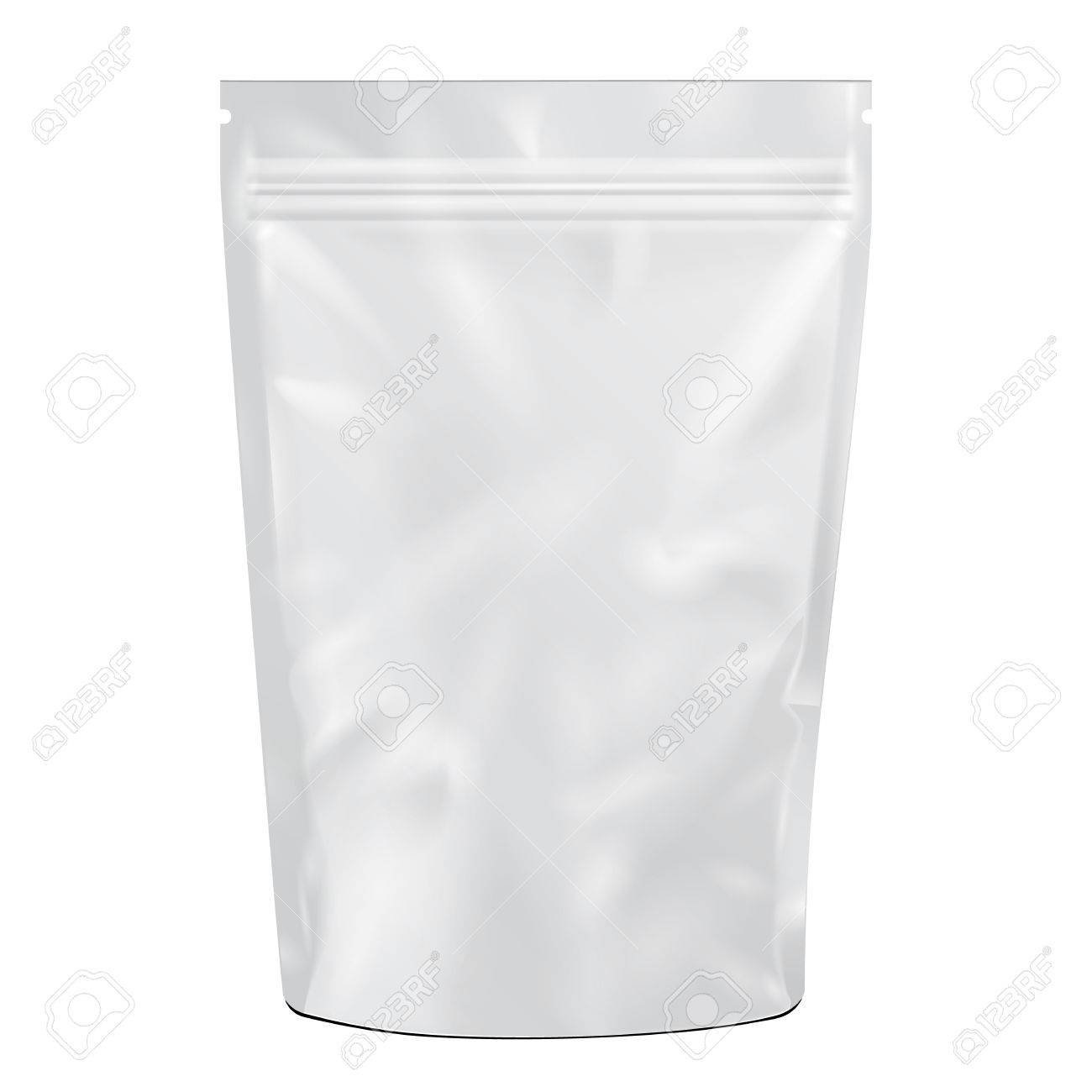 White Blank Foil Food Or Drink Doy pack Bag Packaging. Illustration Isolated On White Background. Mock Up, Mockup Template Ready For Your Design. Vector - 57793774