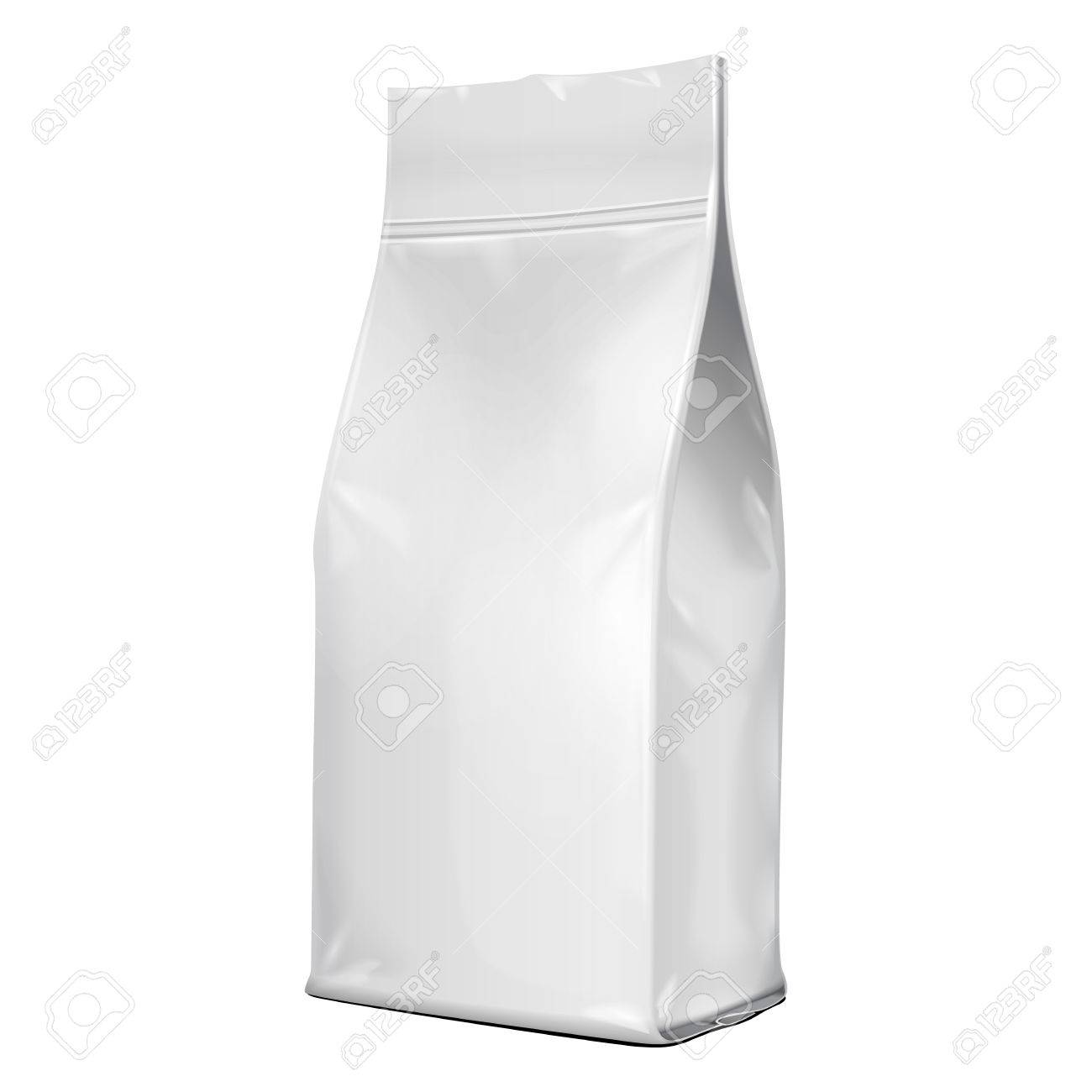 Foil Paper Food Bag Package Of Coffee, Salt, Sugar, Pepper, Spices Or Flour, Folded, Grayscale. On White Background Isolated. Mock Up Template Ready For Your Design. Product Packing Vector - 57794929