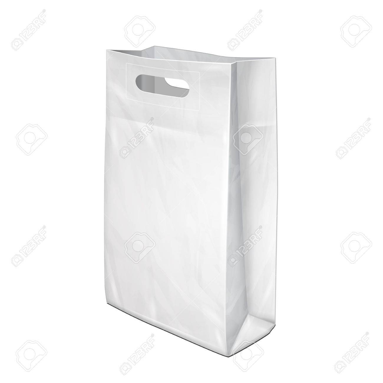 disposable paper or plastic shopping bag with handles package