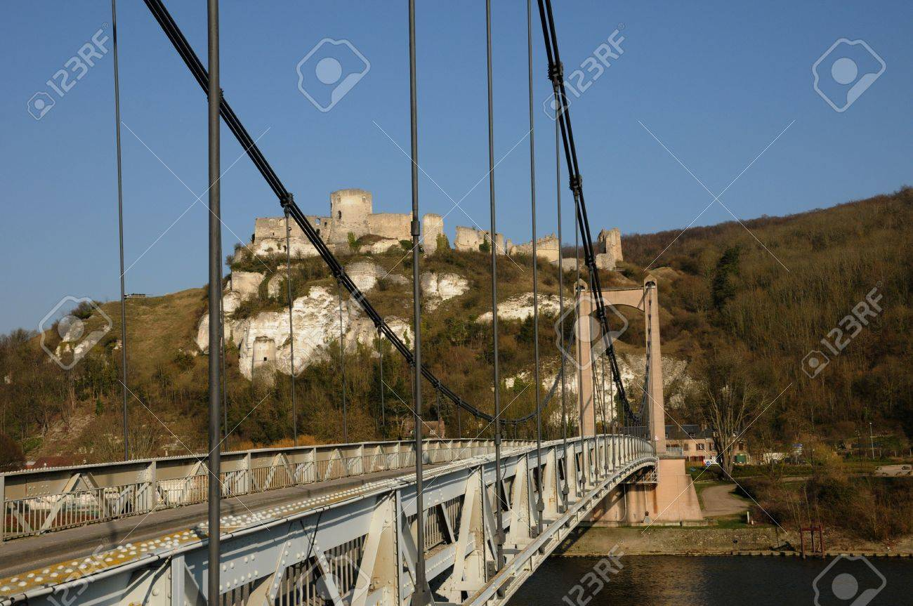 France Suspension Bridge Of Les Andelys In Normandie Stock Photo Picture And Royalty Free Image Image 13337498