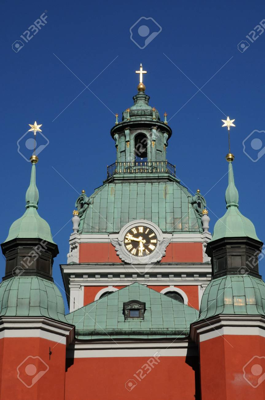 Sweden, the old and picturesque Saint Jacob church in Stockholm Stock Photo - 18477595