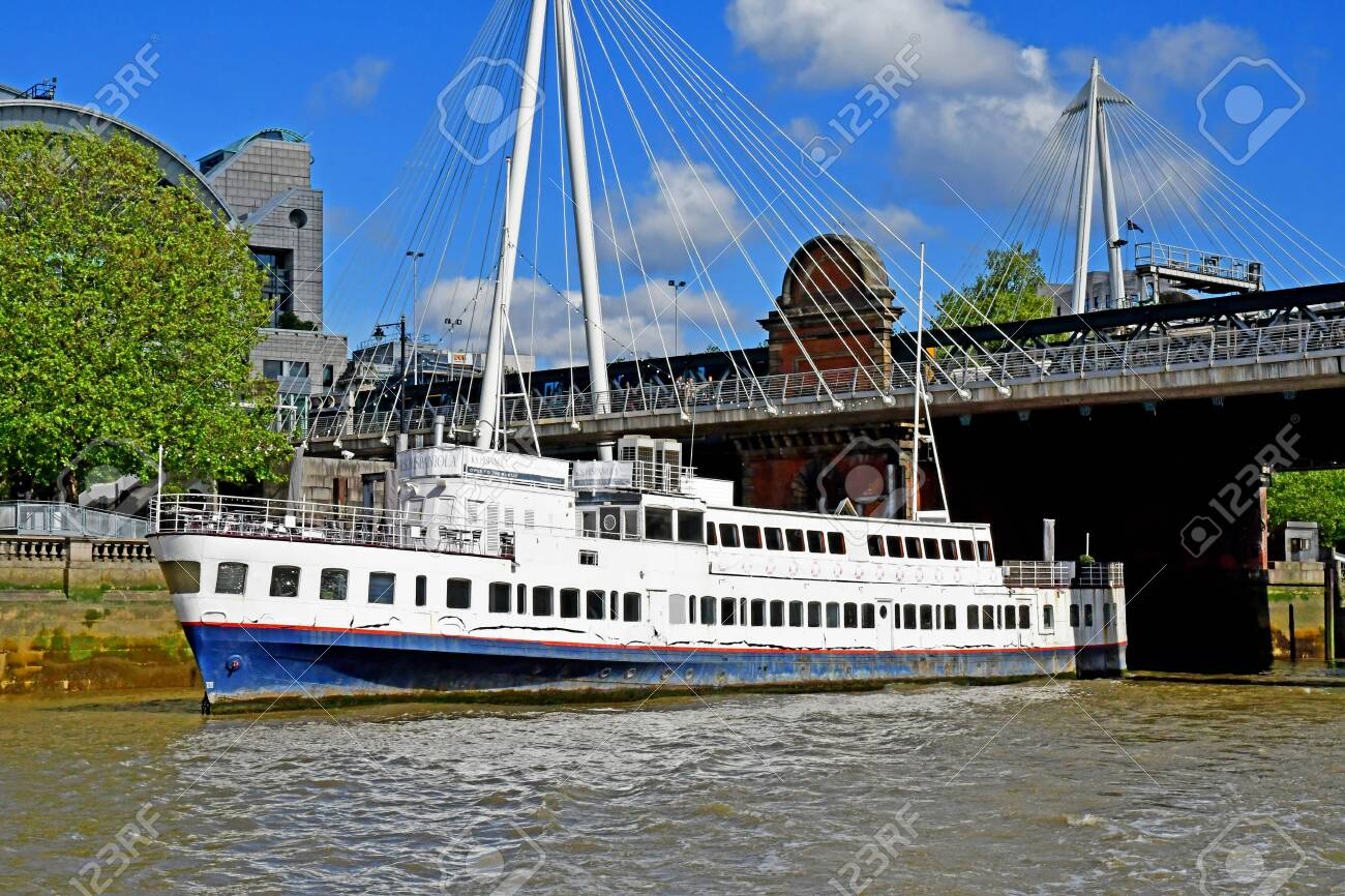 London; England - may 5 2019 : Thames river cruise in the city centre - 135871414