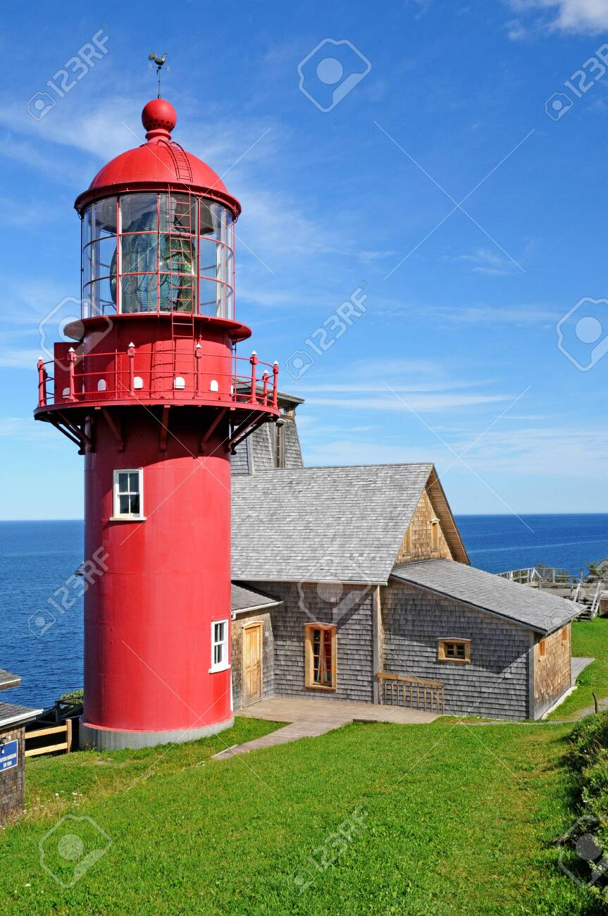 Quebec; Canada- june 25 2018 : the lighthouse of Pointe a la Renommee in Gaspesie - 150244700