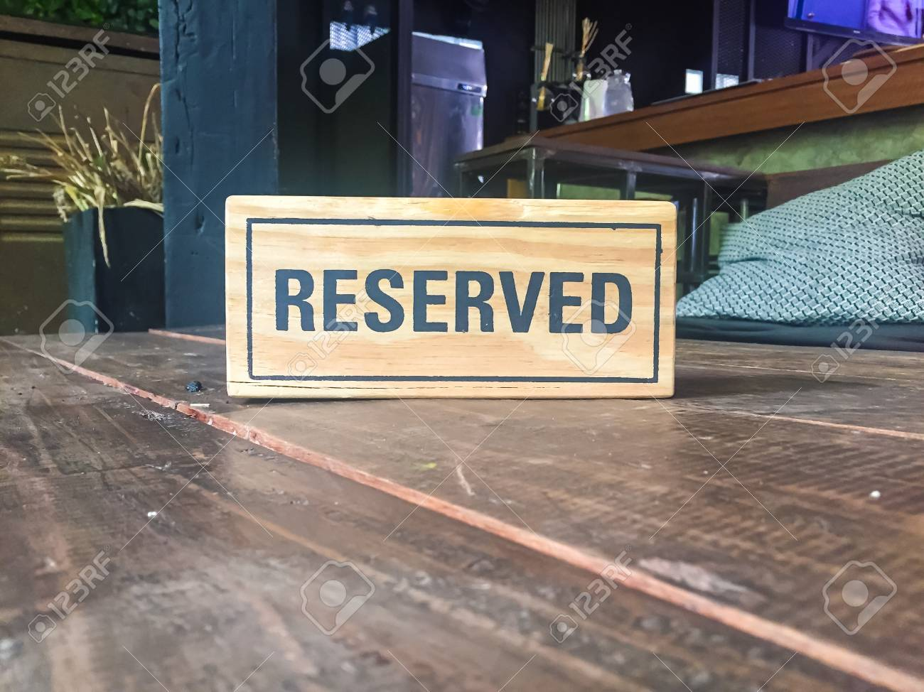 Signs Reservation On The Table In The Restaurant Stock Photo - Restaurant table signs