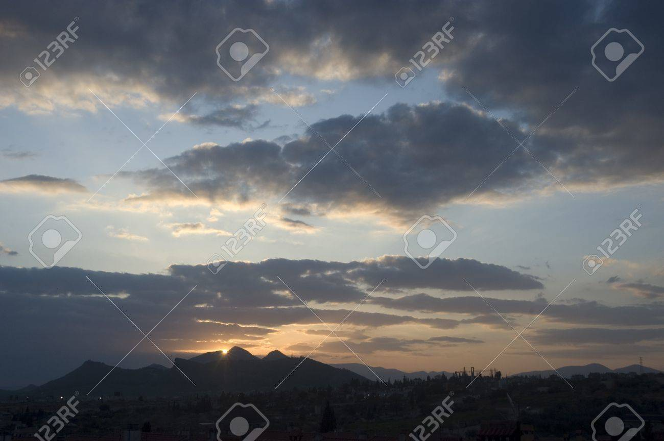 climate change and sierra sunset elvira, seen from the town of peligros, in the province of granada Stock Photo - 9680735