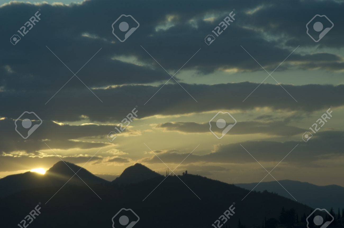 climate change and sunset in sierra elvira Stock Photo - 9771227