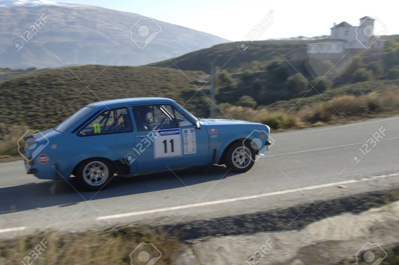 rally of classic cars of the first snow of the Sierra Nevada, between Shell and Saleres stretch. 26/11/2011 Stock Photo - 11336220