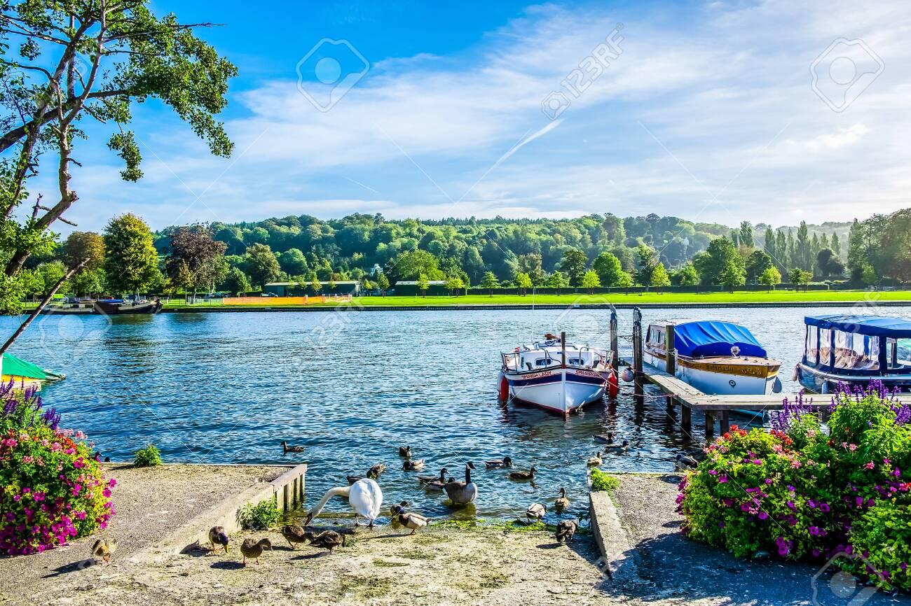 Boats on River Thames at Henley-on-Thames, Oxfordshire, United Kingdom UK - 146003110