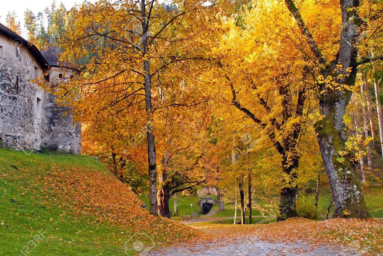 Autumn View Of Gardens At Schloss Bruck Lienz Austria Stock