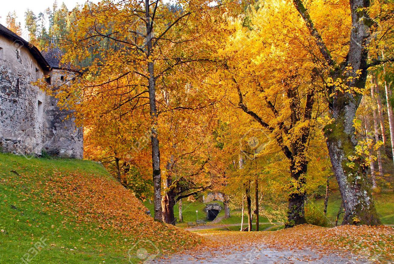 Autumn View Of Gardens At Schloss Bruck Lienz Austria Stock