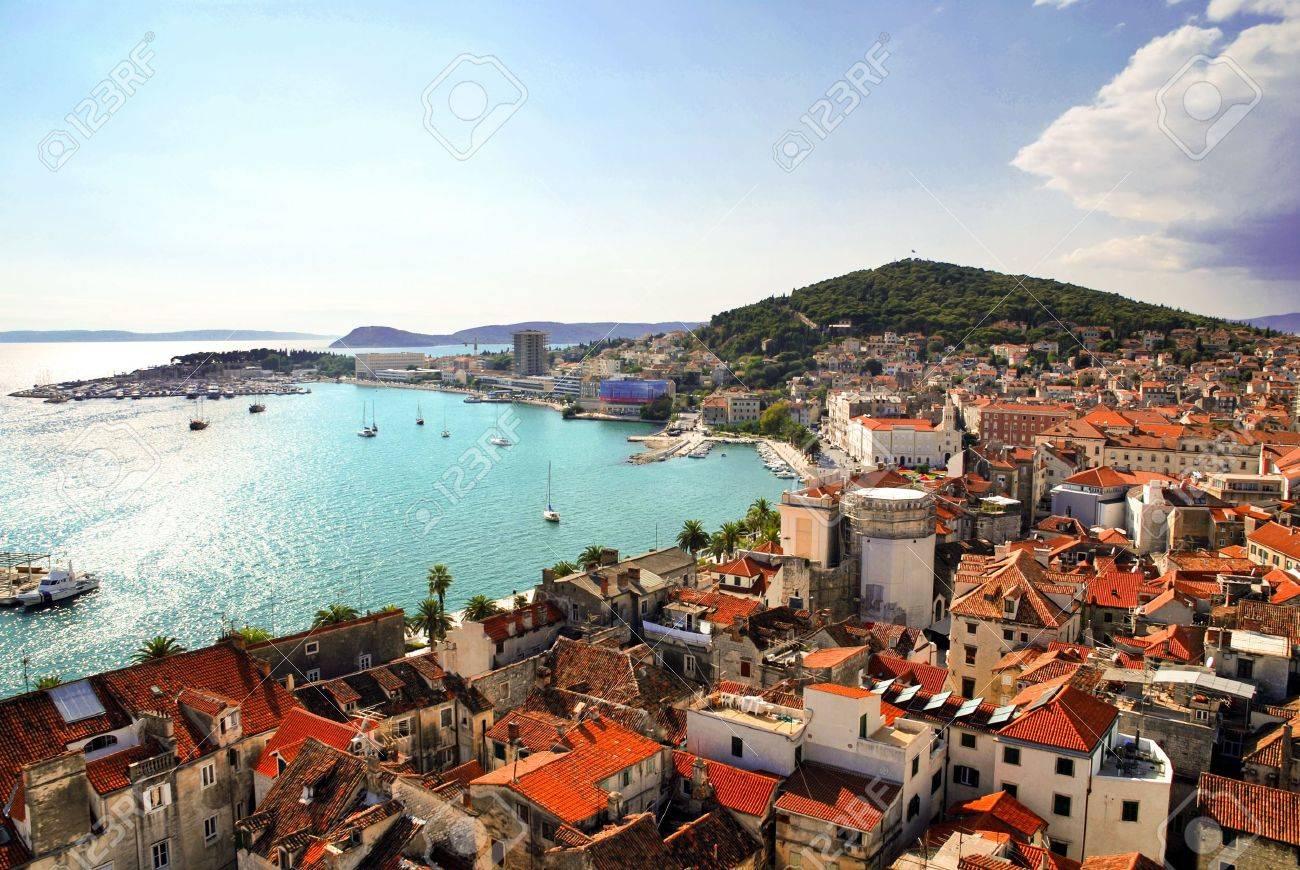 Carte Cote Croatie.Croatie Cote Carte Postale Split Et Vue Sur Le Port De Clocher