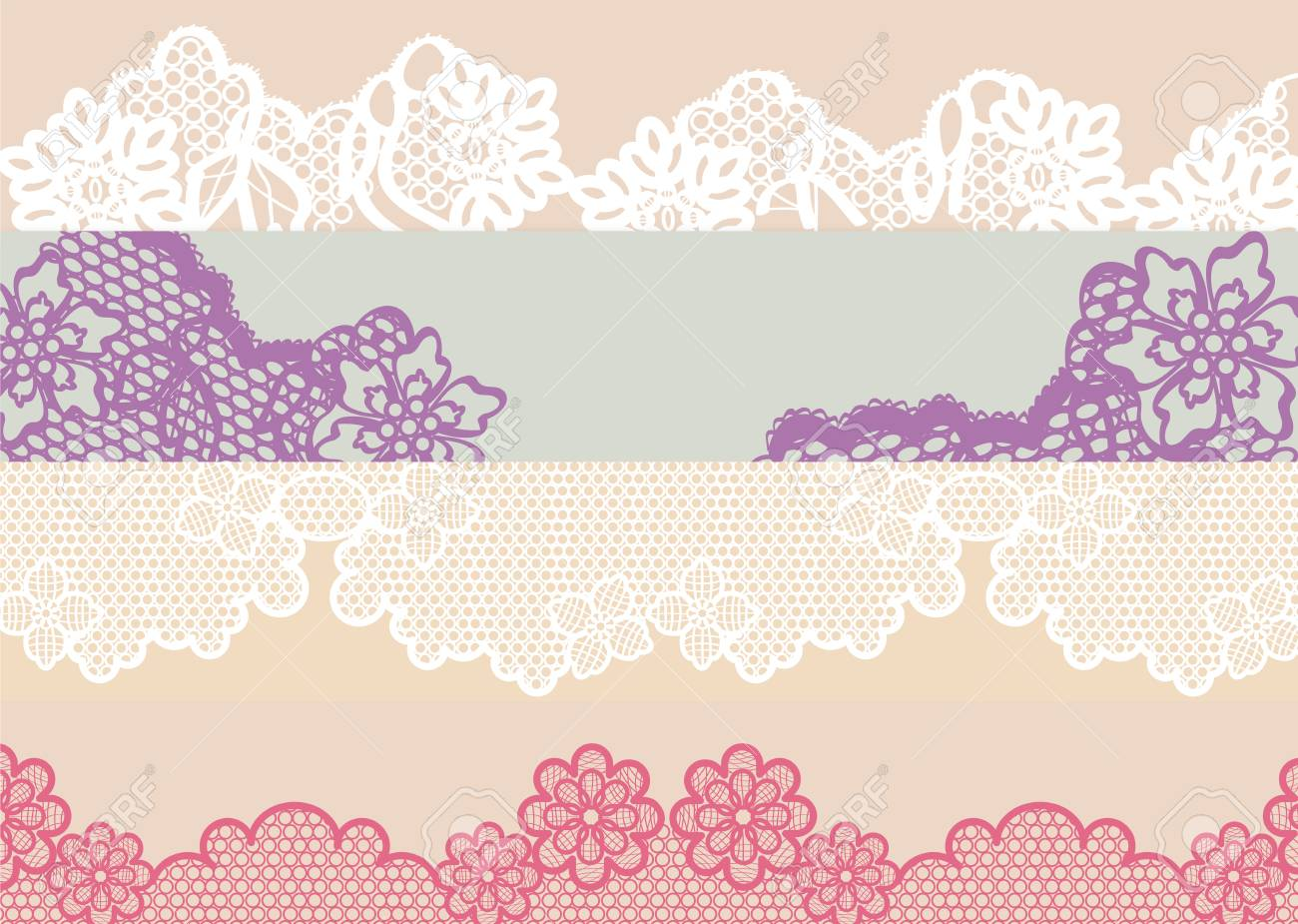 Four types of lace in different colors and design that can serve as  texture d22f9e950