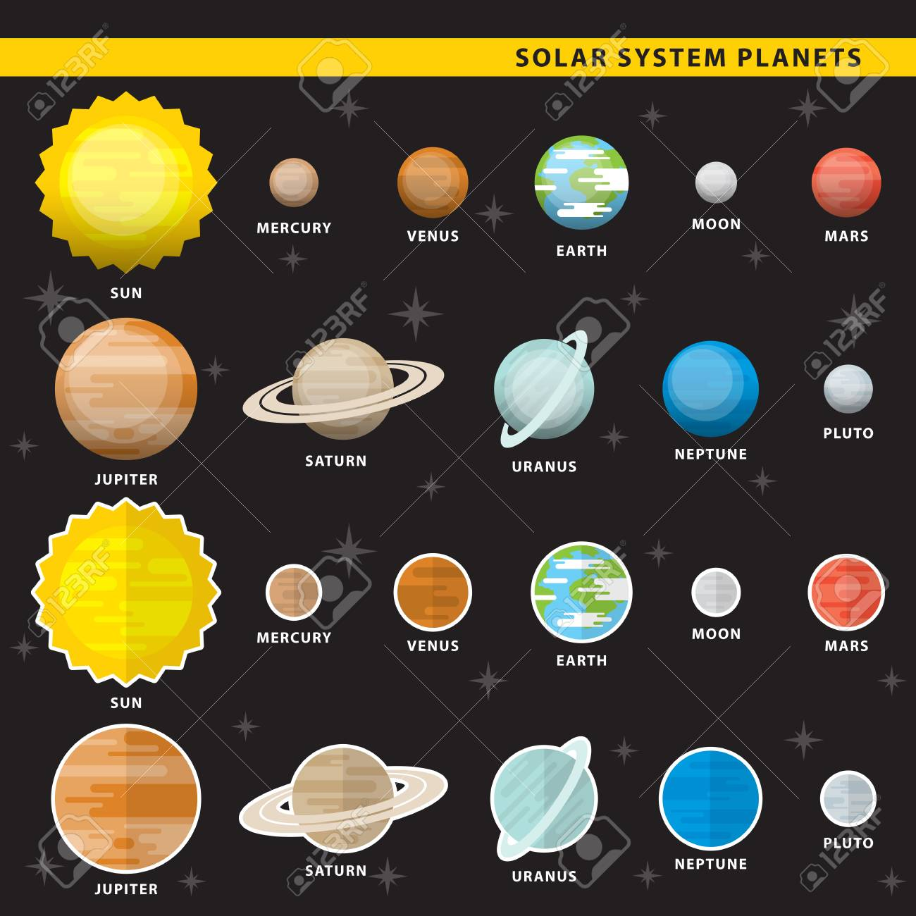 Set of solar system planets in two color styles. Stock Vector - 86687261