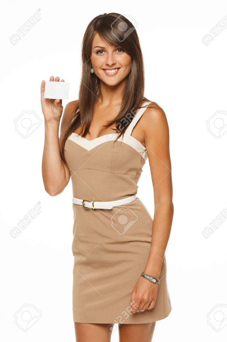 Portrait of young smiling business woman holding credit card isolated on white background Stock Photo - 15009768